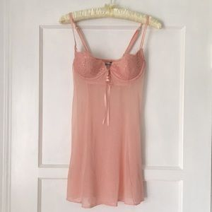 Delicate Pink Lace Sheer Night Gown Lingerie Sexy